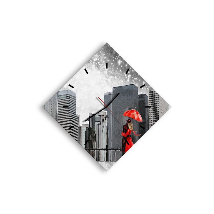 Ceas de perete Wincott, rosu/gri, 71 x 71 x 0,4 cm imagine chilipirul-zilei.ro
