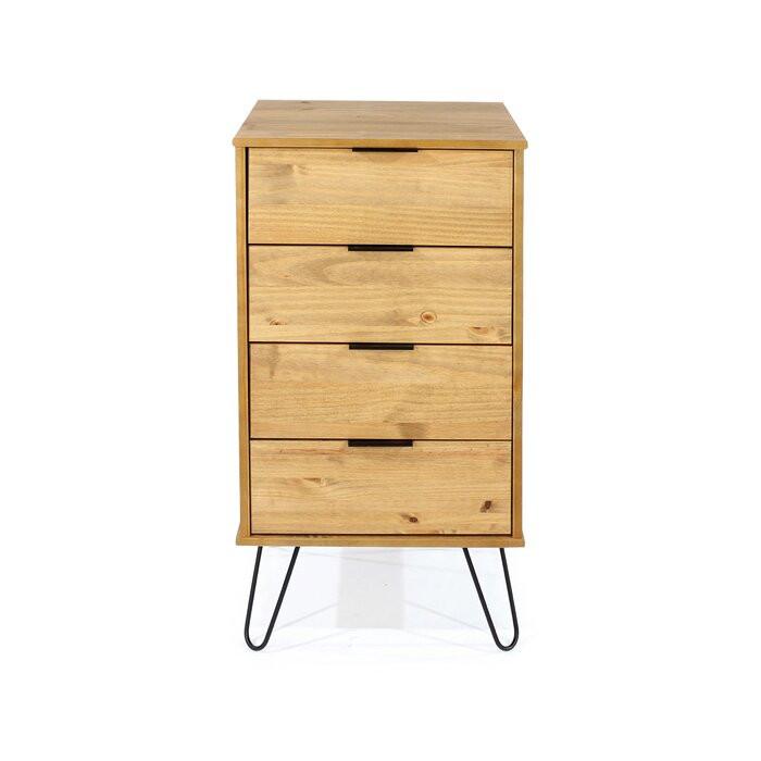 Comoda Blom, lemn masiv de pin, maro, 90,3 x 45 x 39,5 cm imagine 2021 chilipirul zilei