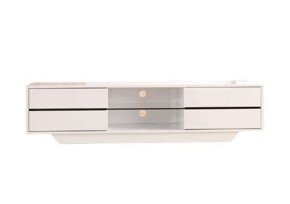 Comoda TV Vanesa, MDF, alba, 160 x 40 x 36 cm, iluminat inclus imagine 2021 chilipirul zilei