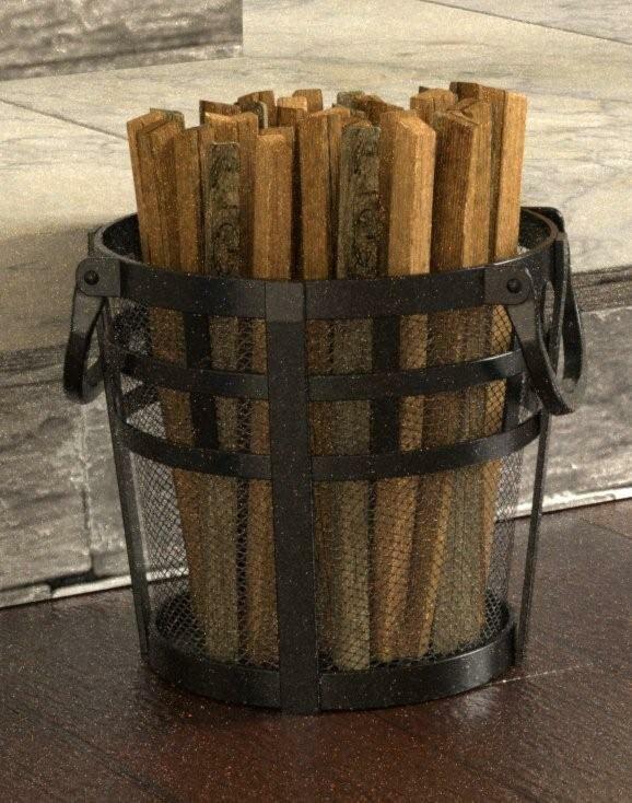 Coș pentru lemne din fier, negru