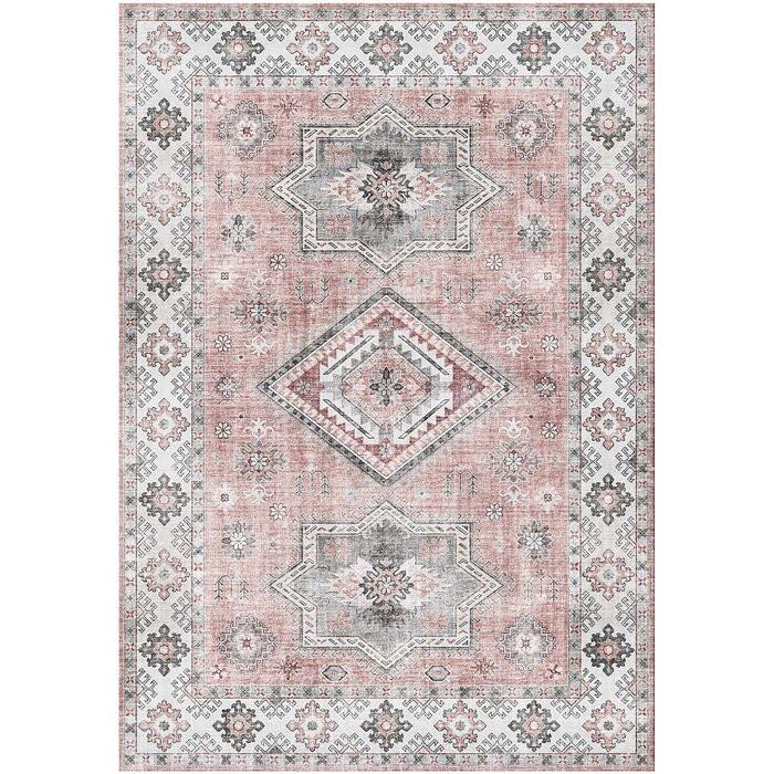 Covor Bourland, poliester, gri/roz, 160 x 230 cm