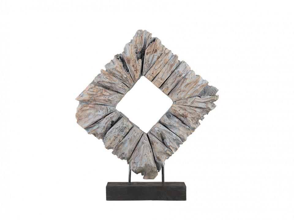 Decoratiune KABAH, lemn, gri, 48 x 48 x 12 cm chilipirul-zilei.ro