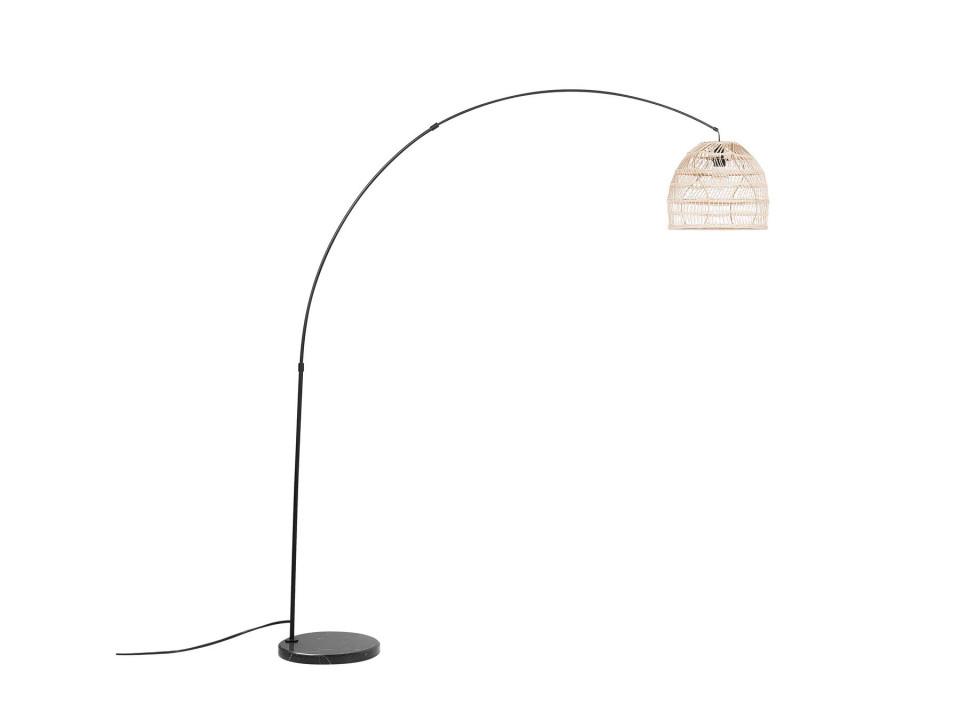 Lampadar GUAVIARE, metal/ratan, bej/negru, 195 x 33 x 33 cm, 60w chilipirul-zilei.ro