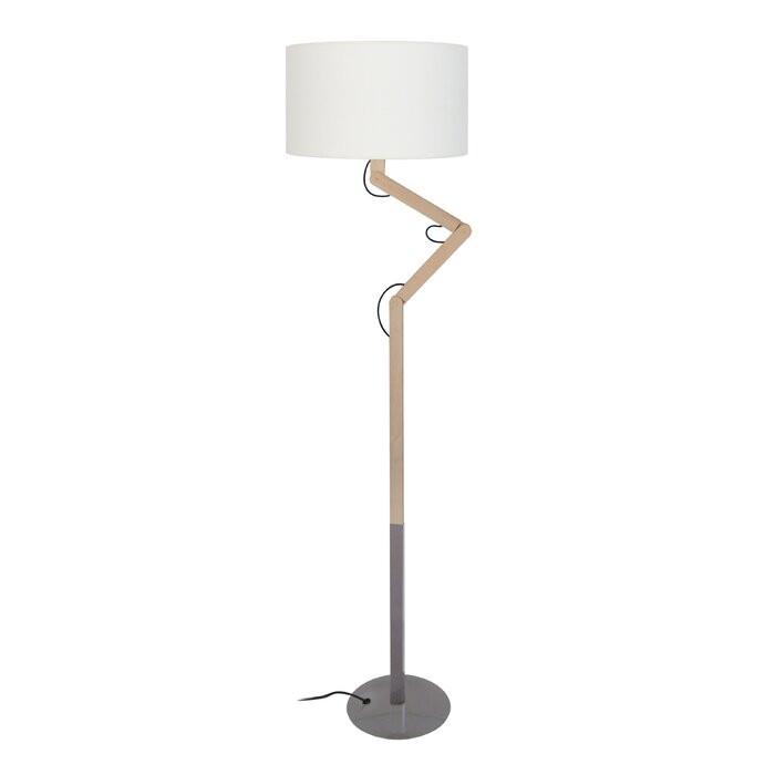 Lampadar Rosamund, lemn/metal, gri, 170 x 45 x 40 cm, 40w