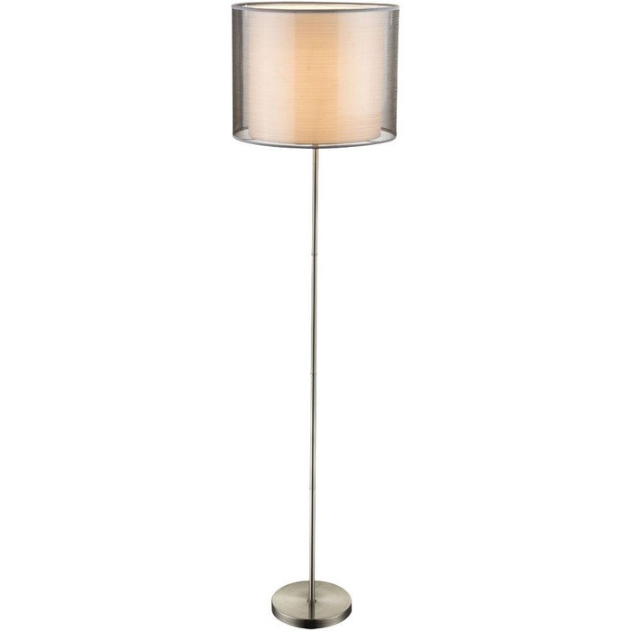 Lampadar Theo, metal/tesatura/sticla, argintiu, 160 x 40 cm imagine 2021 chilipirul zilei