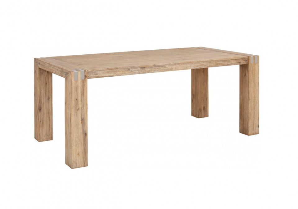 Masa Basano, lemn masiv de salcam, maro, 200x100x78 cm