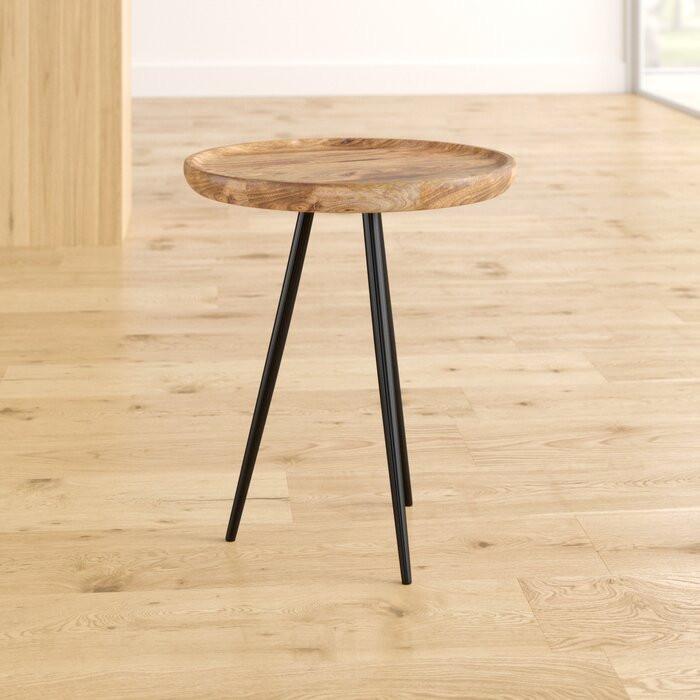 Masă laterală Ursula, lemn/metal, negru/maro, 60 x 52 x 52 cm