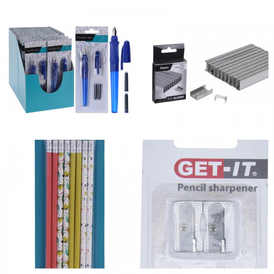 Pachet birotica cutie 3000 capse, stilou cu 2 rezerve, set 4 ascutitori, set de 8 creioane chilipirul-zilei.ro