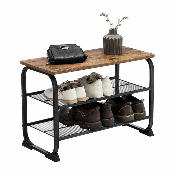 Pantofar Rustic, lemn/metal, maro/negru, 45 x 66 x 30 cm