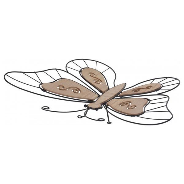 Platou decorativ Butterfly metal, maro/argintiu
