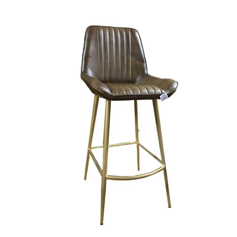 Scaun de bar Langport din piele, maro, 85cm H x 46cm W x 54cm D