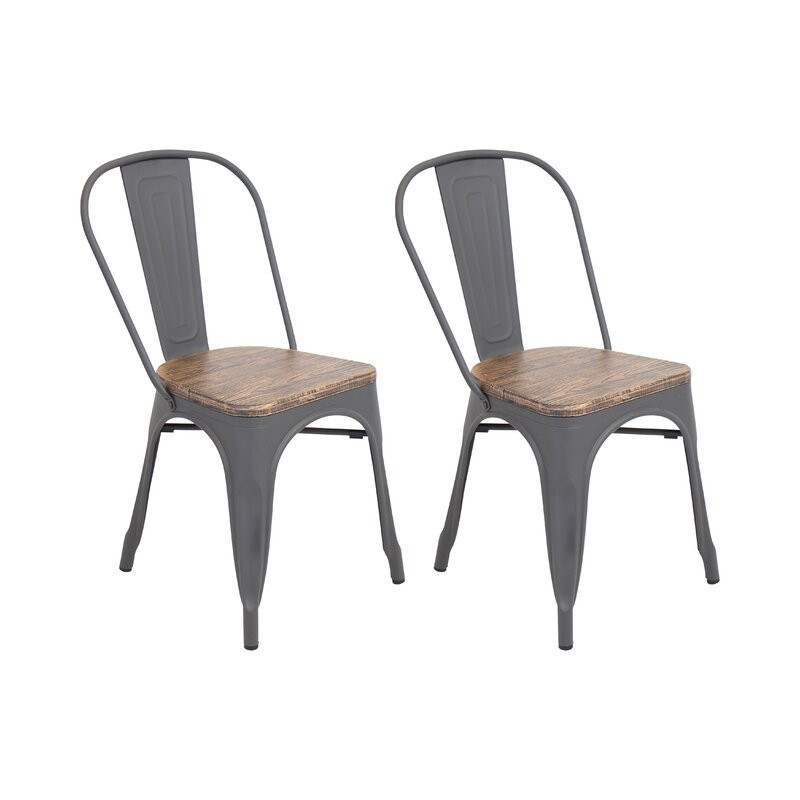 Set 2 scaune de masă Claremont din metal, gri, 83cm H x 44cm W x 51cm D 2021 chilipirul-zilei.ro