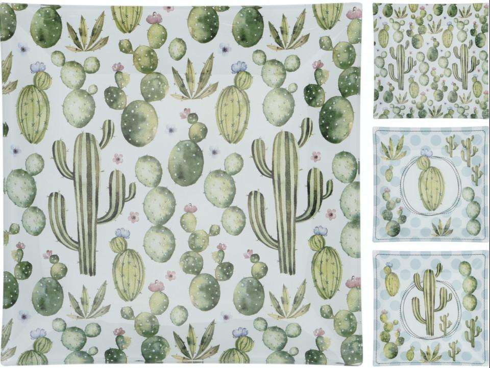 Set de 2 farfurii de sticla Karll patrata, alb/verde, 21 x 21 cm