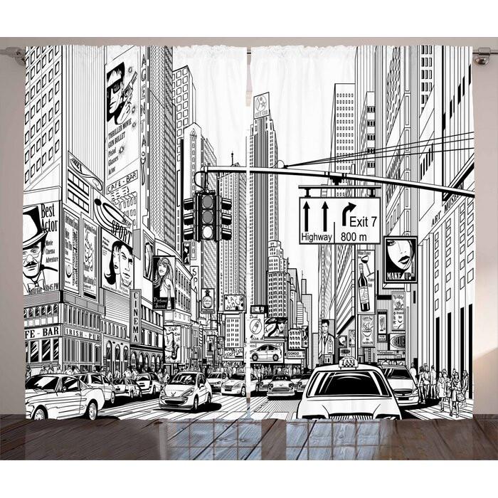 Set de 2 perdele New York, alb/negre, 140 x 245 cm chilipirul-zilei.ro