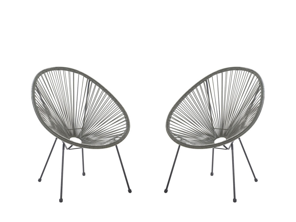 Set de 2 scaune Acapulco II, gri/negru, 70 x 90 x 87 cm image0