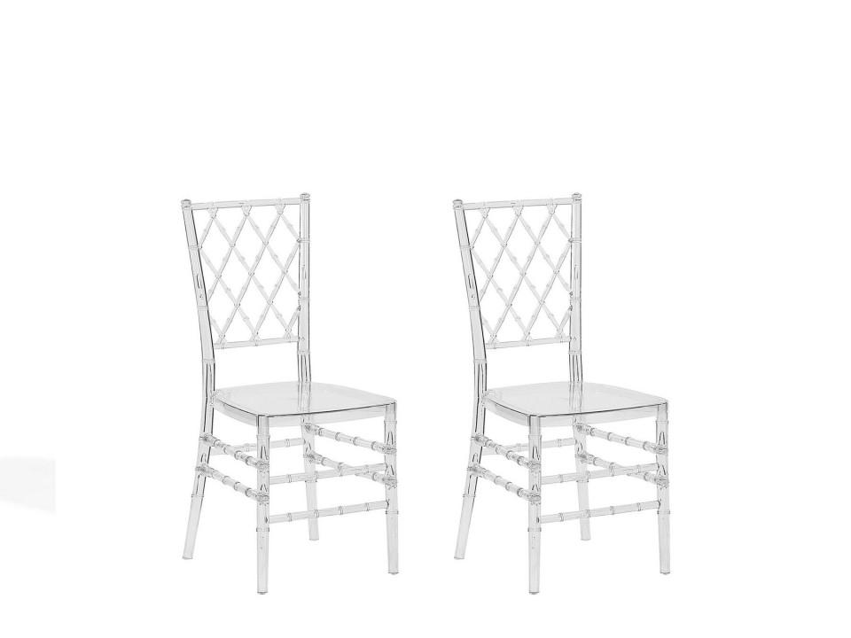Set de 2 scaune CLARION, policarbonat, transparente, 40 x 40 x 92 cm imagine 2021 chilipirul zilei