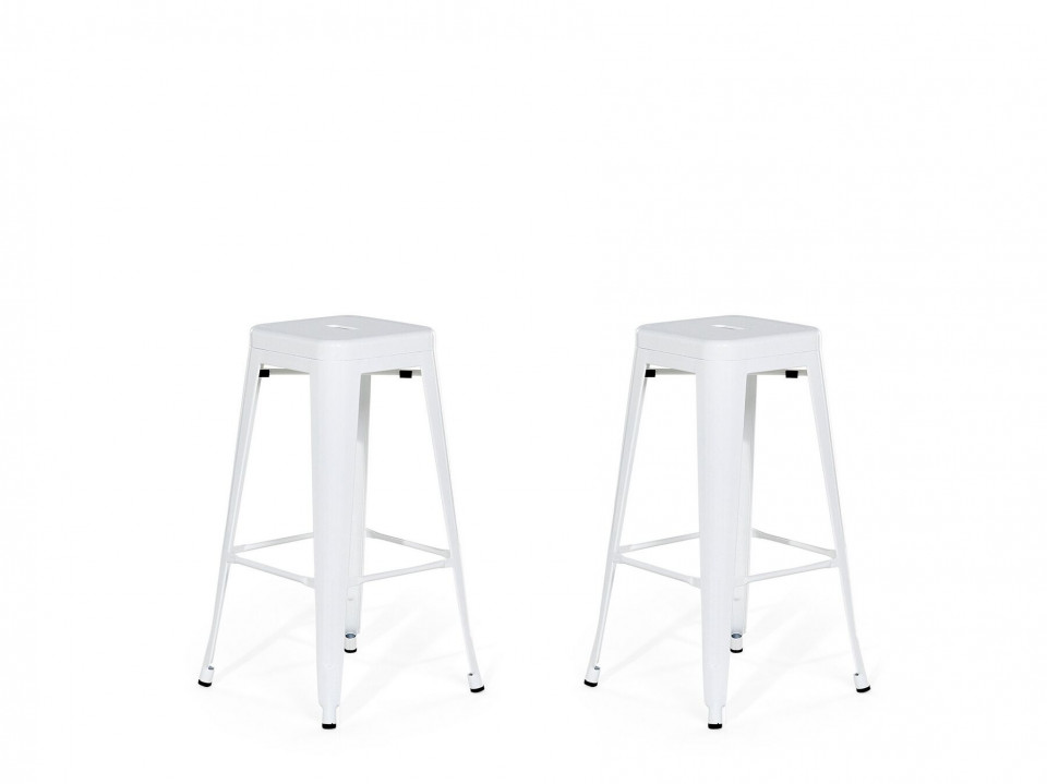 Set de 2 scaune de bar CABRILLO 76 cm albe 2021 chilipirul-zilei.ro