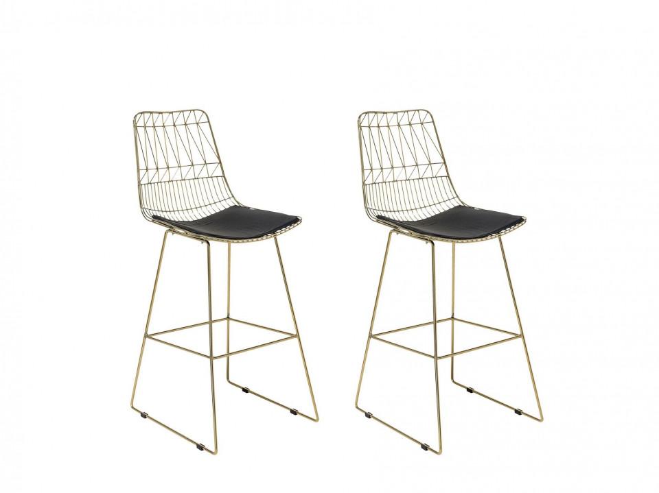 Set de 2 scaune de bar PRESTON, aurii