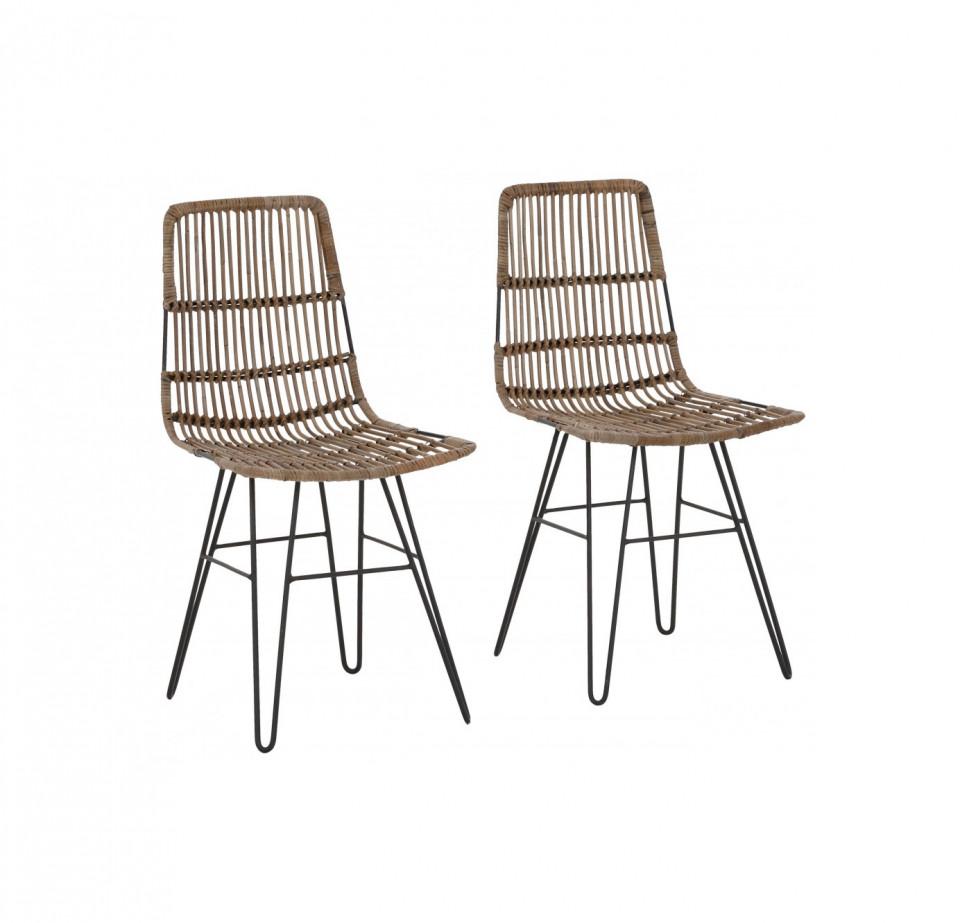 Set de 2 scaune Filli, ratan/metal, gri, 45 x 41 x 48 cm