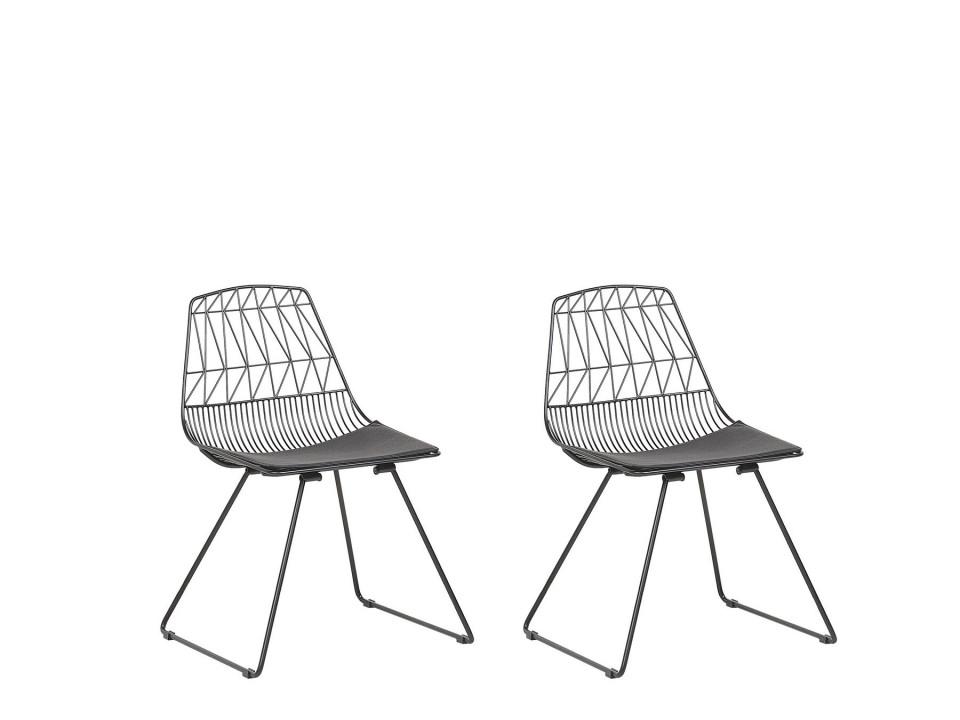 Set de 2 scaune HARLAN, negre, 57 x 54 x 77 cm poza chilipirul-zilei.ro
