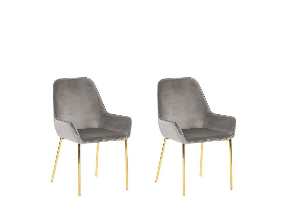 Set de 2 scaune LOVERNA, metal/catifea, gri/aurii, 59 x 59 x 89 cm