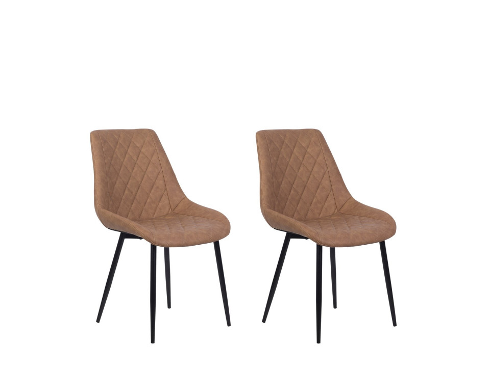 Set de 2 scaune MARIBEL, piele sintetica maro