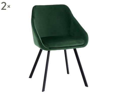 Set de 2 scaune Monza, catifea verde chilipirul-zilei.ro