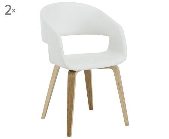 Set de 2 scaune Nova din piele, alb