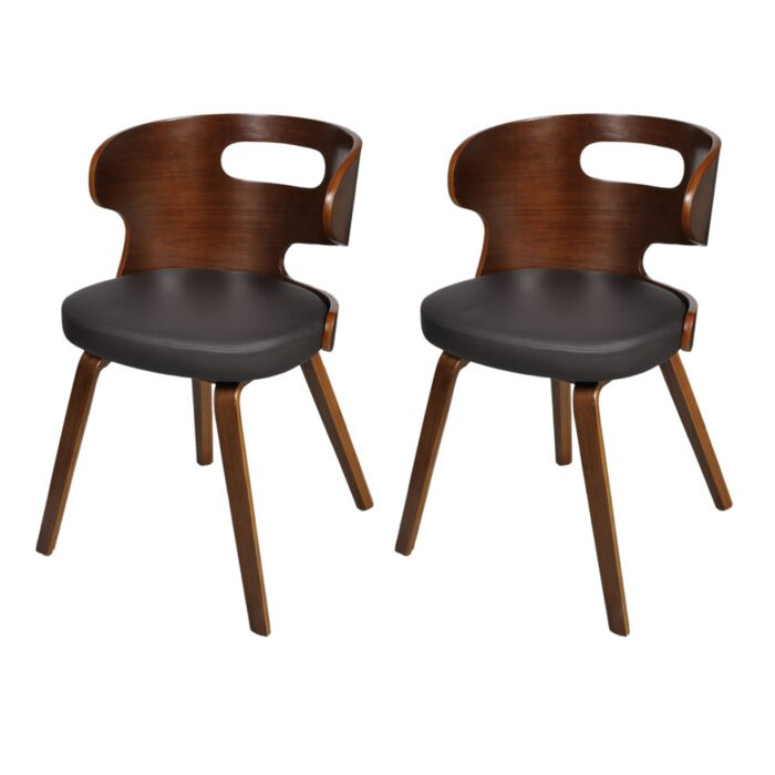 Set de 2 scaune tapitate, maro/negre, 68,5 x 49,5 x 52 cm poza chilipirul-zilei.ro