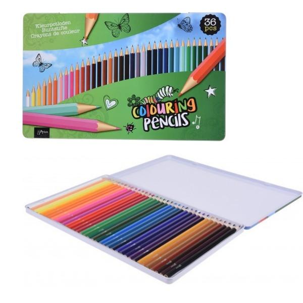 Set de 36 creioane colorate Karll, lemn imagine chilipirul-zilei.ro