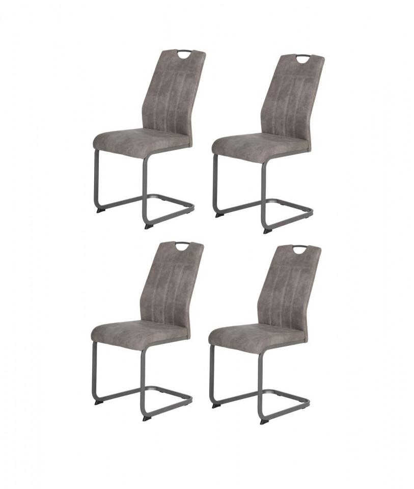 Set de 4 scaune Judique, metal, gri, 98 x 43 x 58 cm poza chilipirul-zilei.ro
