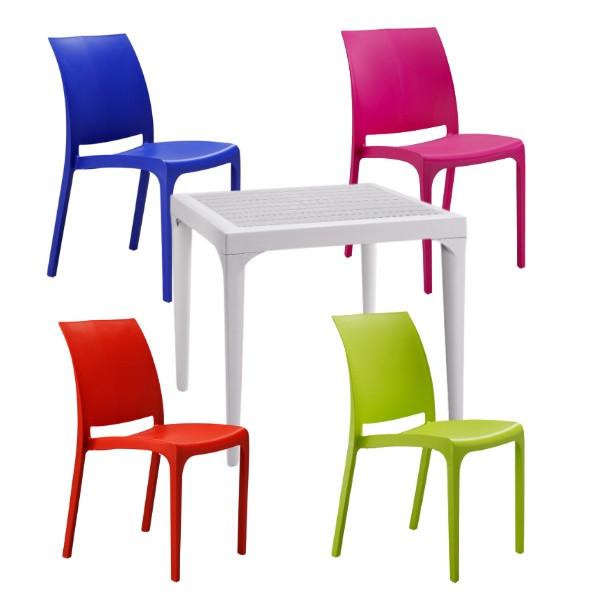 Set de 4 scaune Volga si masa Malmo din polipropilena