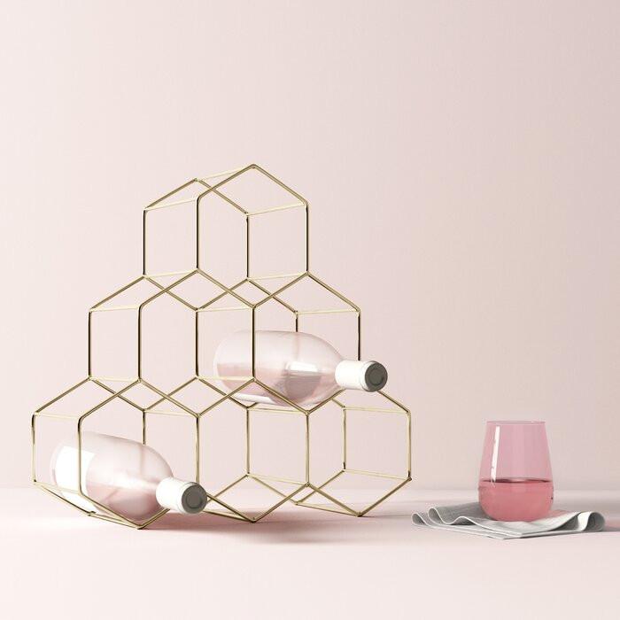Suport pentru 6 sticle de vin Callaghan, metal, auriu, 37 x 38 x 15 cm imagine 2021 chilipirul zilei