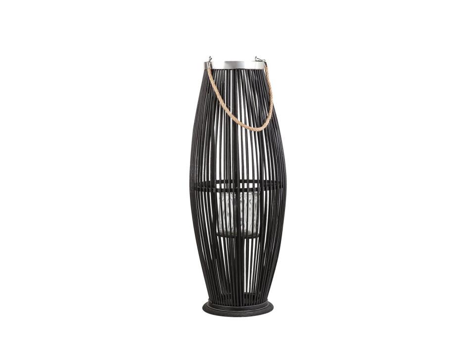 Suport pentru lumanari TAHITI, lemn, negru, 27 x 27 x 72 cm imagine 2021 chilipirul zilei