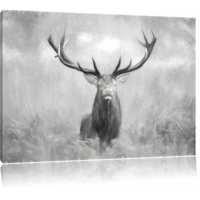 Tablou Cerb mare în câmp, panza, alb-negru, 70 x 100 cm