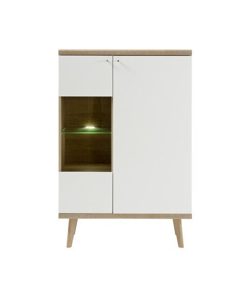 Vitrina Lillian, lemn, maro/alb, 134 x 90 x 40 cm