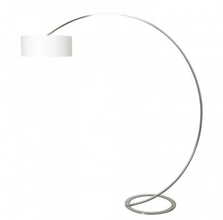 Abajur rotund, plastic/textile, alb/transparent, 1 bec