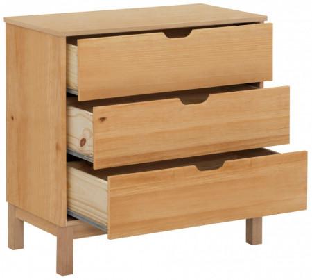 Comoda Post, 3 sertare, lemn masiv de pin, maro, 76 x 39 x 75 cm