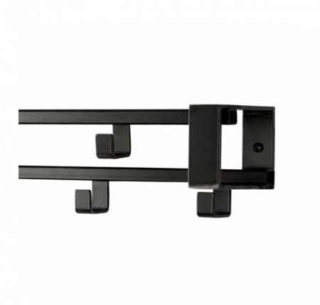 Cuier Blackville otel, negru, 70 x 10 x 10 cm