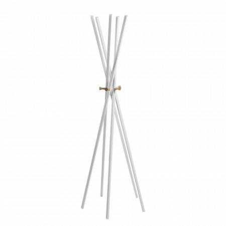 Cuier Kaniva I otel/lemn, alb, 60 x 170 x 60 cm