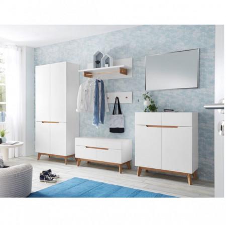 Cuier Tenabo MDF/ stejar, alb, 97 x 35 x 32 cm