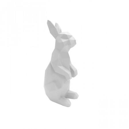 Figurina iepuras, polyresin, alba, 25,2 x 12,5 x 8,7 cm