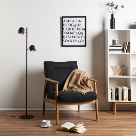 Lampa de podea Jon cu 2 becuri LED, negru