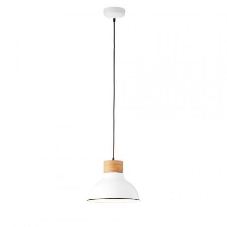 Lustra pendul Pullet metal/lemn, alb, 1 bec, 230 V