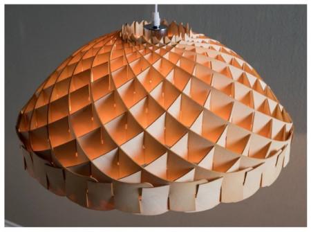 Lustra tip pendul Skulpa Wood III 1 bec, maro deschis, diametru 35 cm