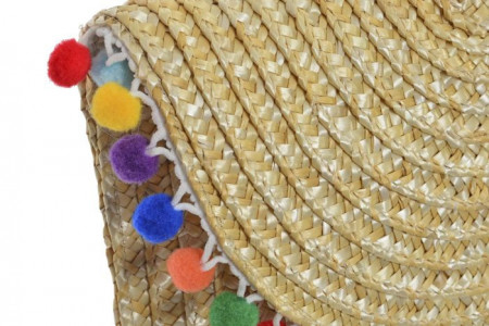Plic de mana din fibre naturale cu pompons, maro deschis