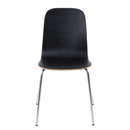 Set de 2 scaune Borelas lemn de arbore de cauciuc/metal, negru, 41 x 83 x 42 cm