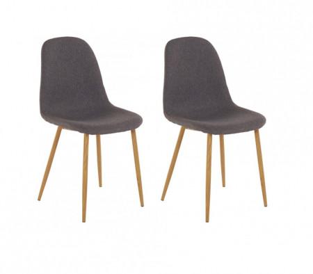 Set de 2 scaune Miller, tesatura/metal/decor stejar, antracit, 44x52x87 cm