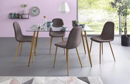 Set de 4 scaune Miller, tesatura/metal/decor stejar, antracit, 44x52x87 cm