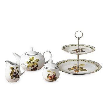 Set de ceai Orchard Fruits, 4 piese, portelan, alb